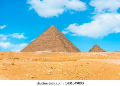Pyramids in the desert of Giza and blue sky, Egypt