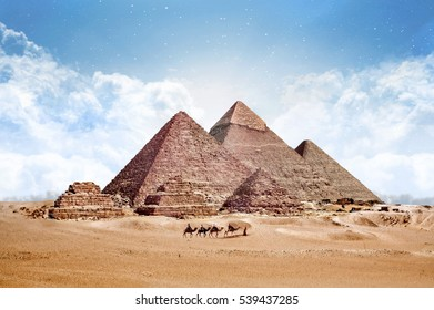Pyramids Egypt Giza All, Panorama View, with Camels
