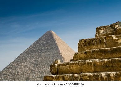 The pyramids of Giza, a detail in the front, one in the back