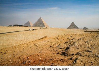 The pyramids of Giza from a distance