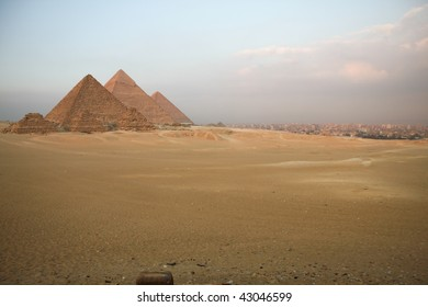 Pyramids of Giza in evening light