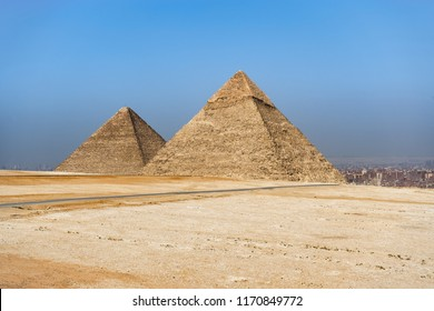 The Pyramids of Giza, the last surviving Wonders of the Ancient World, situated in Cairo, Egypt.
