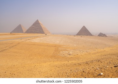 Pyramids of Giza near Cairo Egypt. Wonder of the World in the desert
