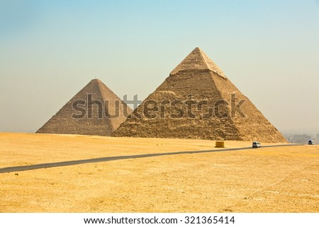 Pyramids of Giza on the outskirts of Cairo Egypt.