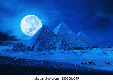 Pyramids giza,cairo,egypt in phantasy full moon lit landscape