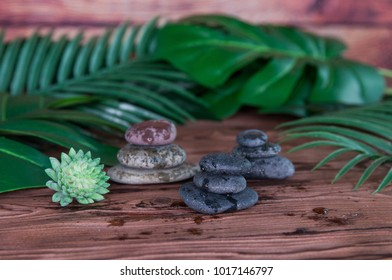 Pyramids of gray zen stones. Concept of harmony, balance and meditation, spa, massage, relax