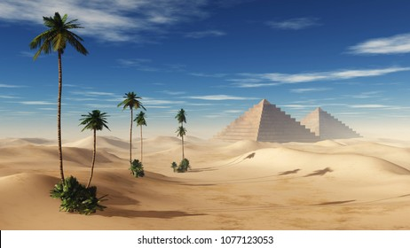 pyramids in the sandy desert with palm trees, 3D rendering