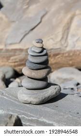Pyramids of stones on the seashore