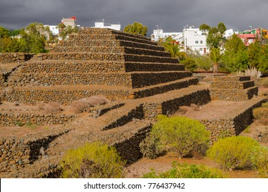 Güimar pyramids in Tenerife, Canary islands, Spain, on a cloudy day with some sun over the pyramids.