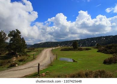 Pyrenean footpath in Capcir, Pyrenees orientales in southern of France