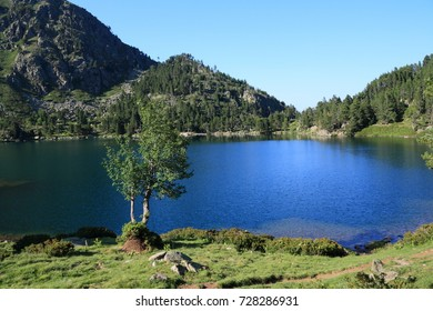 Pyrenean lake of Balbonne in Ariege, Occitanie in South of France