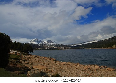 Pyrenean lake of Bouillouses in Capcir, Pyrenees orientales in southern of France