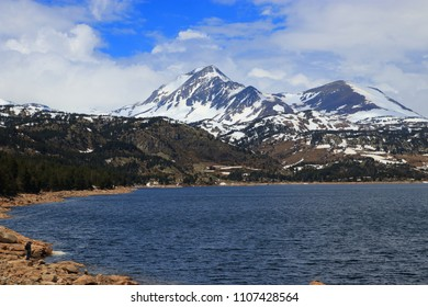 Pyrenean lake of Bouillouses and peak Peric in Capcir, Pyrenees orientales in southern of France