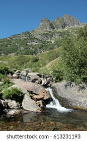 Pyrenean river in Orlu valley in Ariege, Occitanie in south of France