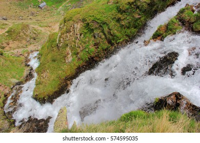 Pyrenees mountains in the summer, waterfall