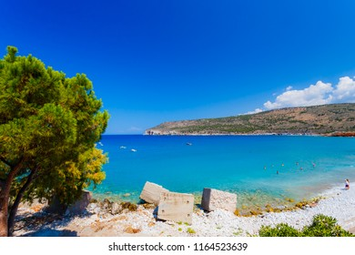 Pyrgos Dirou beach located in Mani, Laconia, Greece. Diro is most famous for its caves, the Diros Caves