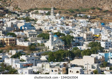 Pyrgos, Greece - August 01, 2012: View to the town of Pyrgos in Pyrgos, Greece.