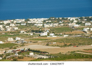 Pyrgos, Greece - August 01, 2012: View to the countryside area at the sea shore in Pyrgos, Greece.