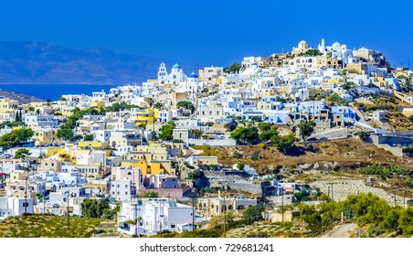 Pyrgos Kallistis. Santorini, Cyclades islands. Greece. Traditional and famous greek architecture
