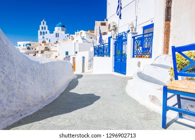 Pyrgos, Santorini. Famous attraction of white village with cobbled streets, Greek Cyclades Islands, Aegean Sea of Greece.