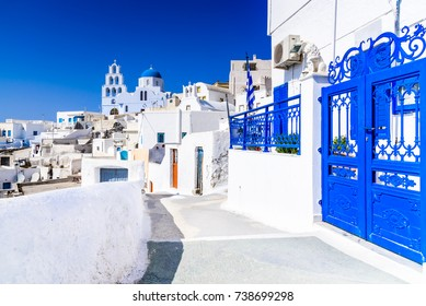 Pyrgos, Santorini, Greece. Famous attraction of white village with cobbled streets, Greek Cyclades Islands, Aegean Sea.