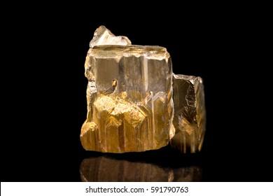pyrite or iron pyrite mineral stone, gemstone, healing stone, black background