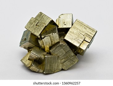 Pyrite isolated  single shiny mineral stone, fool's gold, cubic gems, on white limbo background