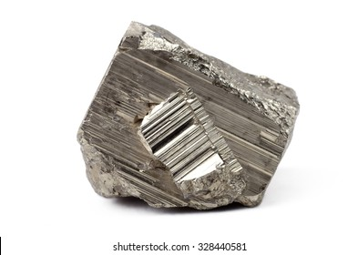 Pyrite mineral isolated on white background