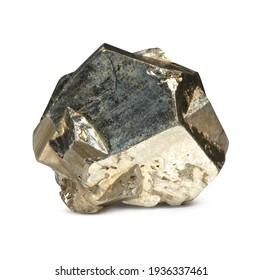 pyrite quartz rock, isolated on white background
