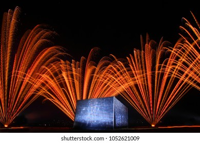 pyro fireworks blast celebration with square building