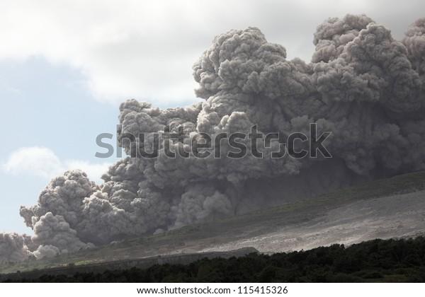 Pyroclastic flow descending down Tar River Valley, Soufriere Hills Volcano, Montserrat, Caribbean, January 2010