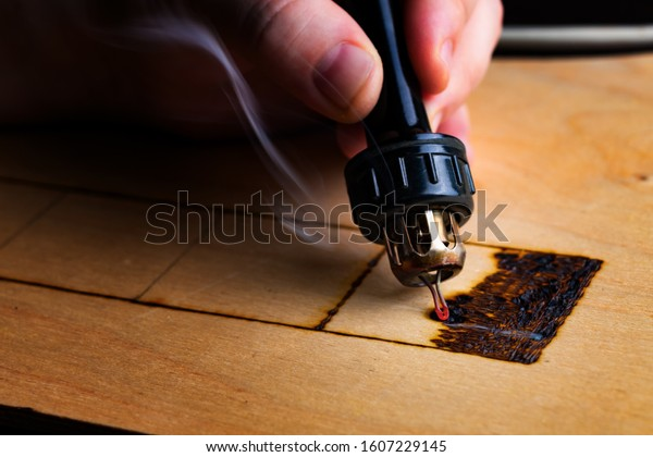Pyrography Wood Burning Pyrography Pen Close Stock Photo Edit Now 1607229145