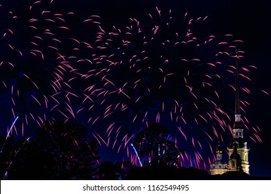Pyrotechnic show in honor of the holiday in St. Petersburg, Russia. Scarlet Sails. Peter-Pavel's Fortress. The Great Pyrotechnic Show. A stunning fire festival. Celebration. Multicolored sky.