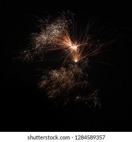 pyrotechnics against black night