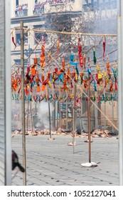 Pyrotechnics and firecrackers at mascleta, valencia en fallas, spain