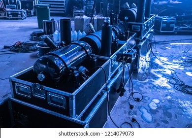 Pyrotechnics show. Equipment for special effects. Special effects on stage. Pyrotechnics.