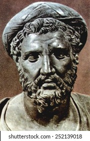 PYTHAGORAS, bust of the 6th century BC mathematician and philosopher, born 569 BC in Samos, Ionia (Italy), died around 475 BC.