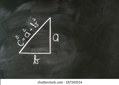 pythagoras formula writed on blackboard with chalk