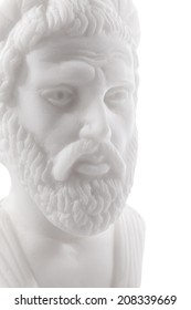 Pythagoras of Samos (570-490 B.C.E.) was an important Greek philosopher, mathematician, geometer and music theorist. Sculpture isolated on white background