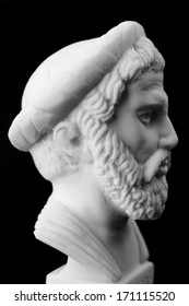 Pythagoras of Samos, was an important Greek philosopher, mathematician, geometer and music theorist.  White marble bust.