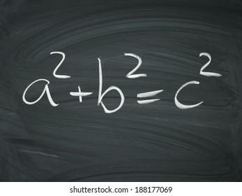 Pythagorean theorem black white drawn