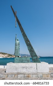 PYTHAGORION, GREECE - JULY 5: Statue of the well-known mathematician and philosopher Pythagoras on July 5, 2017 in Pythagoreio Port, Pythagorion