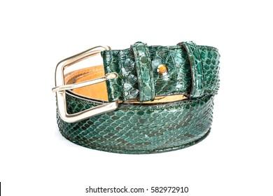 Python leather belt for men, leather on white background, elegant leather belt
