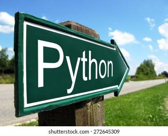 Python (programming language) signpost along a rural road