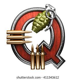 q military letter. 3D illustration