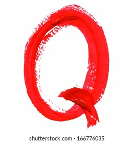 Q - Red handwritten letters on white background. Acrylic colors.