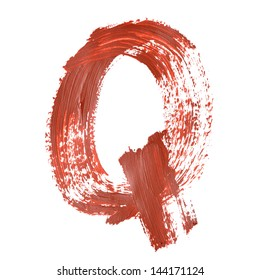 Q - Red letters over white background