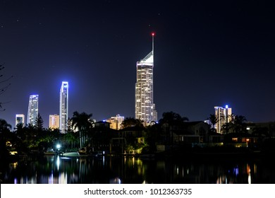 Q1 building and Surfers Paradise cityscape under a starry night sky