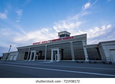 QABALA, AZERBAIJAN - SEPTEMBER 2017: Qabala International Airport, Passenger Terminal Building (Q?b?l? Beyn?lxalq Hava Liman?)