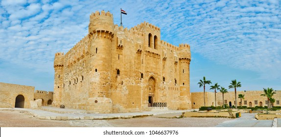 The Qaitbay Fort is the famous historic landmark and fine example of medieval architecture, Alexandria, Egypt.